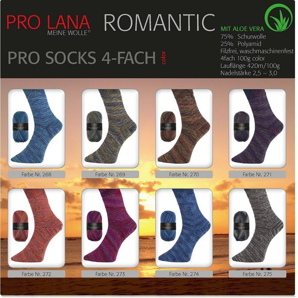 "100g Pro Socks ""Romantic color"" - mit Aloe Vera"
